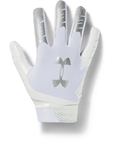 UA F7 Guanti Football Americano Uomo White/Metallic Silver