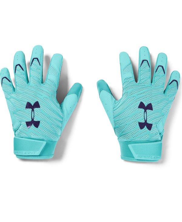 UA Spotlight LE Herren American Football Handschuhe Radial Turquoise/Aqua Foam