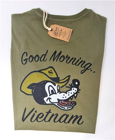 Herren Kurzarm T-Shirt Good Morning Vietnam Military Green