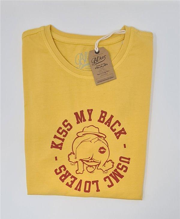 Kiss My Back Camiseta Manga Corta para Hombre Yellow
