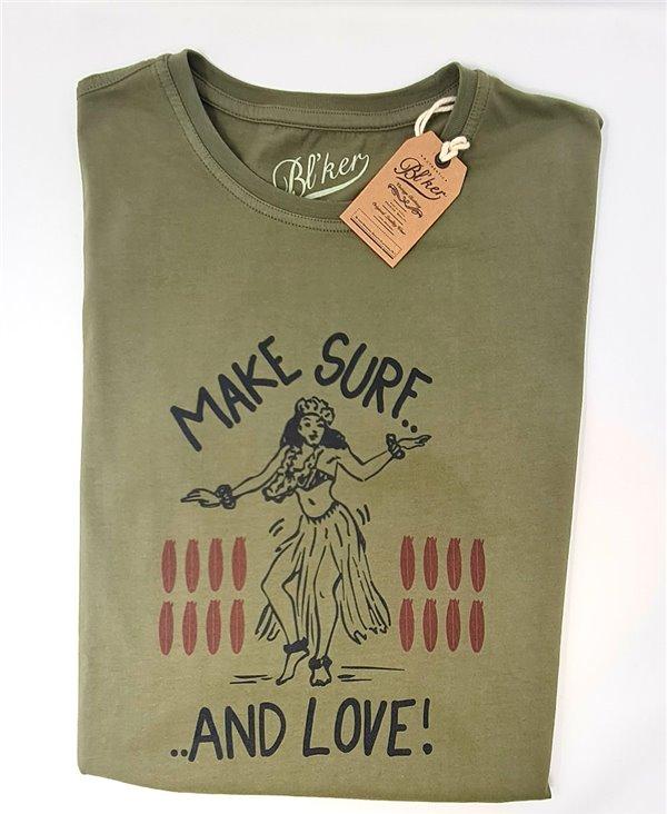 Herren Kurzarm T-Shirt Make Surf Military Green