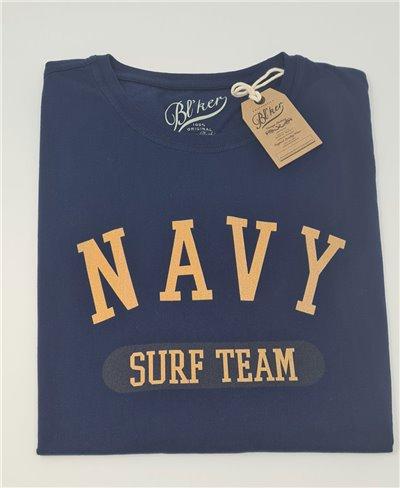 Navy Surf Team Camiseta Manga Corta para Hombre Navy