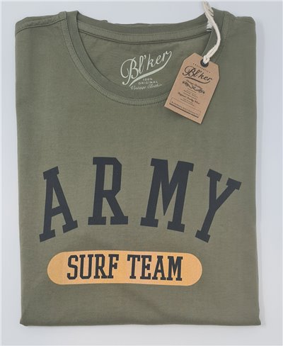 Herren Kurzarm T-Shirt Army Surf Team Military Green