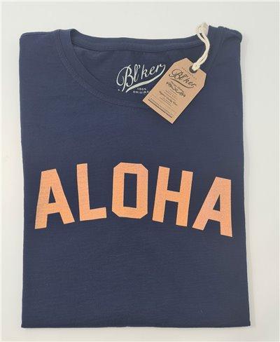 Herren Kurzarm T-Shirt Aloha Navy