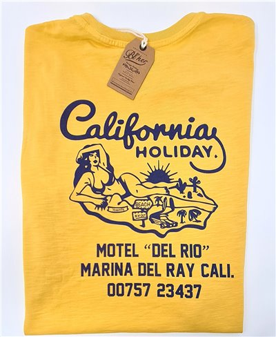 Motel California T-Shirt Manica Corta Uomo Yellow
