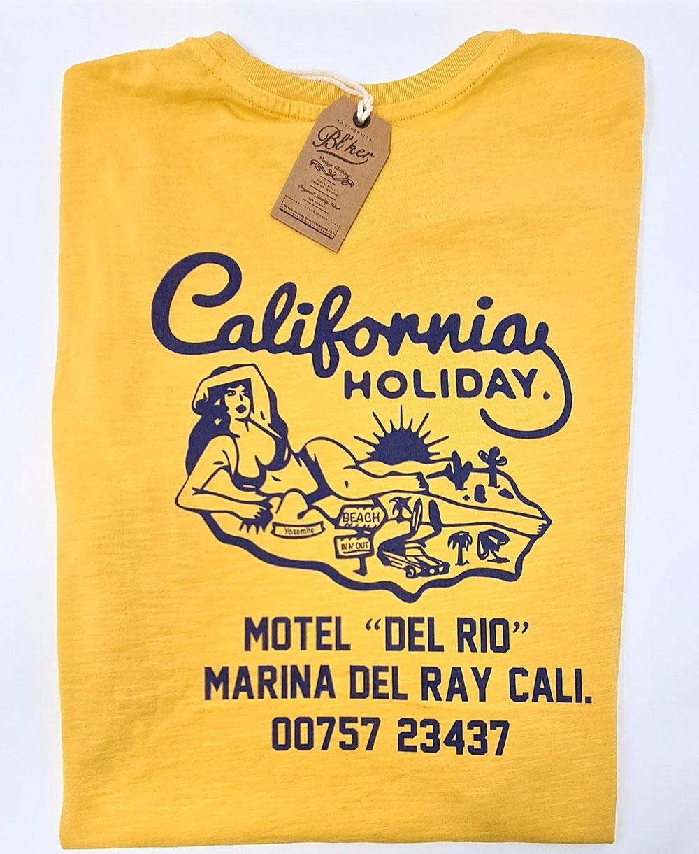 Motel California T-Shirt Manica Corta Uomo Yellow