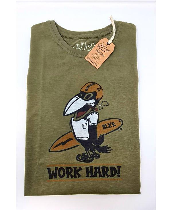 Men's Short Sleeve T-Shirt Work Hard Military Green