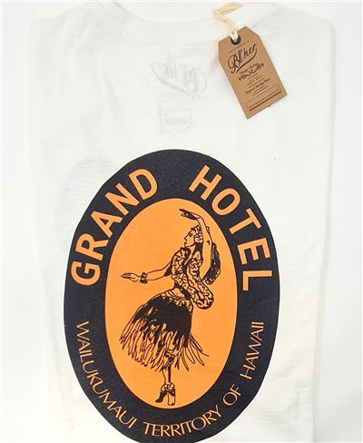 Herren Kurzarm T-Shirt Grand Hotel Hawaii White