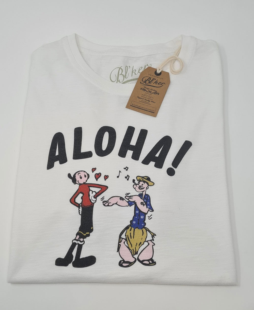 Herren Kurzarm T-Shirt Popeye Hawaii White