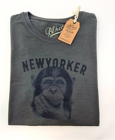 Herren Kurzarm T-Shirt New Yorker Monkey Faded Black