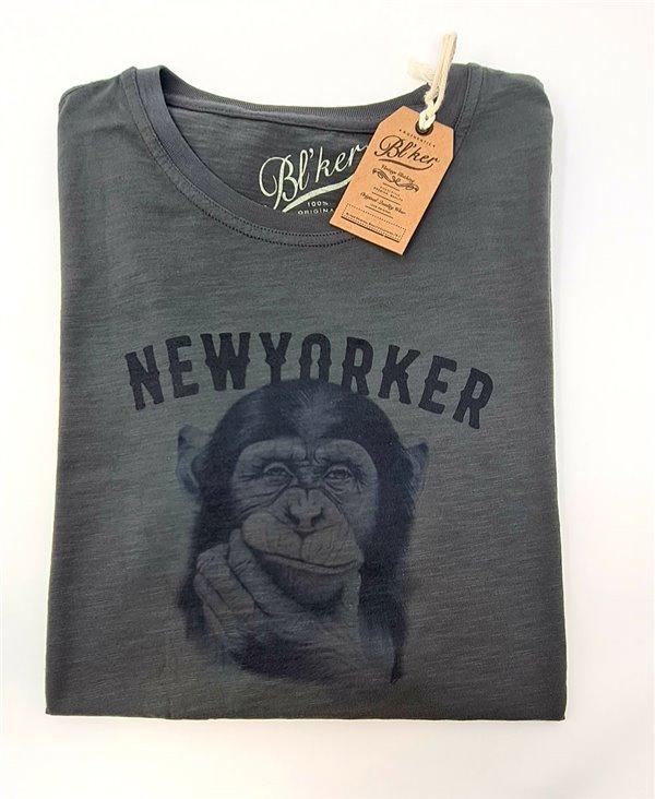 Men's Short Sleeve T-Shirt New Yorker Monkey Faded Black
