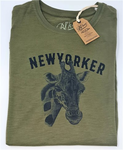 Men's Short Sleeve T-Shirt New Yorker Giraffe Military Green