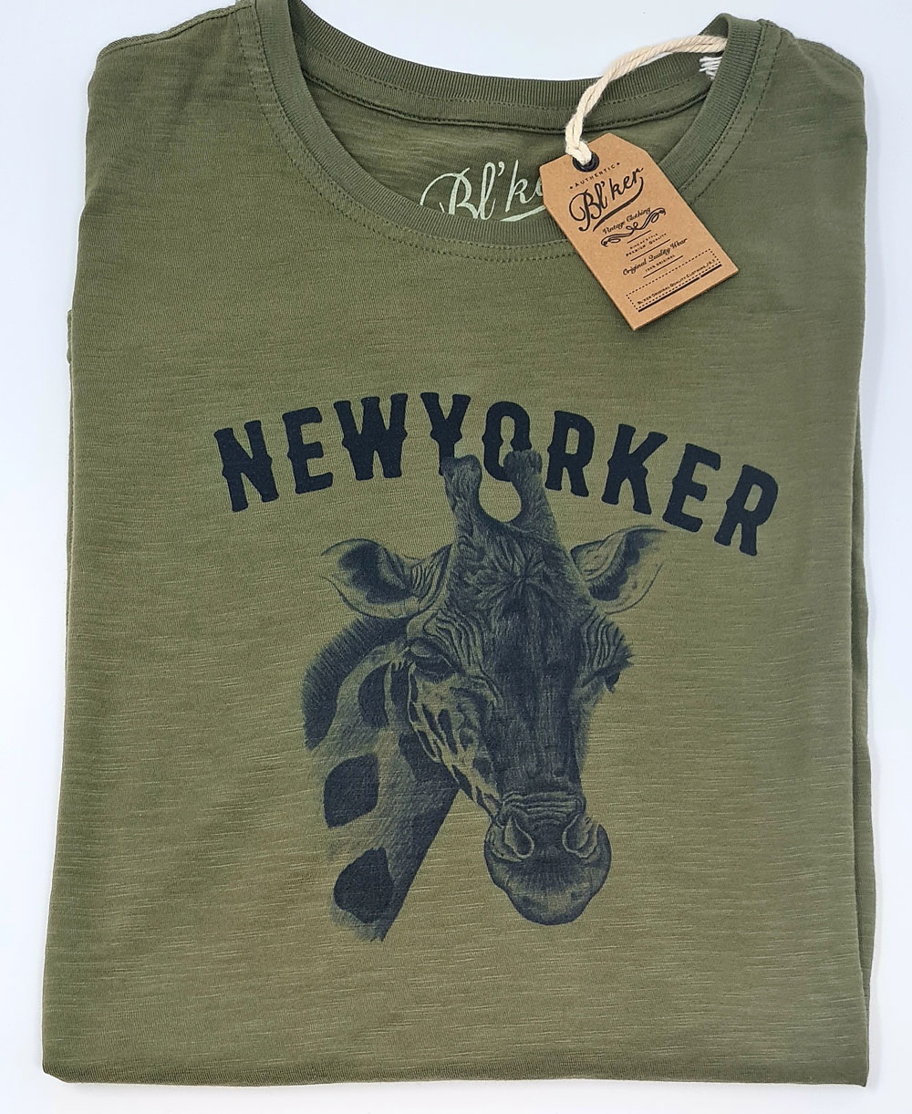 Men's Short Sleeve T-Shirt New Yorker Giraffe Military Green