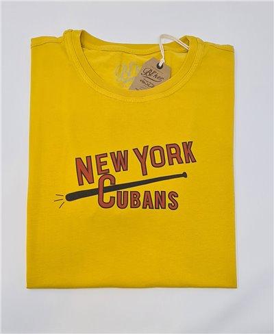 Herren Kurzarm T-Shirt New York Cubans Yellow