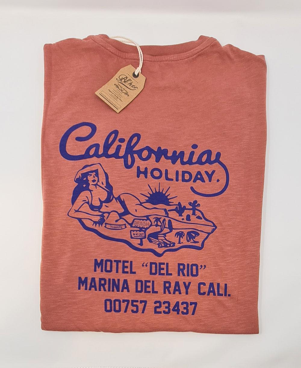 Herren Kurzarm T-Shirt Motel California Red