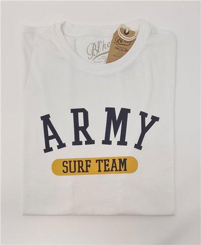 Herren Kurzarm T-Shirt Army Surf Team White