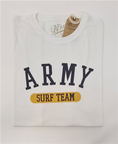 Men's Short Sleeve T-Shirt Army Surf Team White