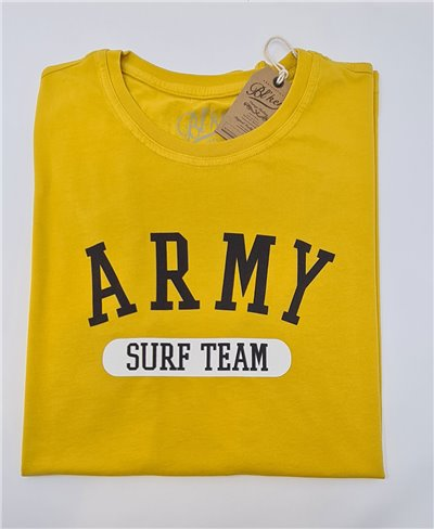 Herren Kurzarm T-Shirt Army Surf Team Yellow