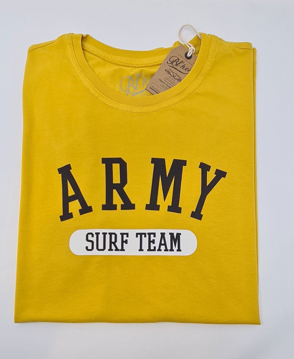 Herren Kurzarm T-Shirt Army Surf Team Yellow