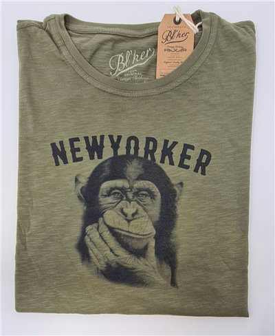 New Yorker Monkey T-Shirt à Manches Courtes Homme Military Green