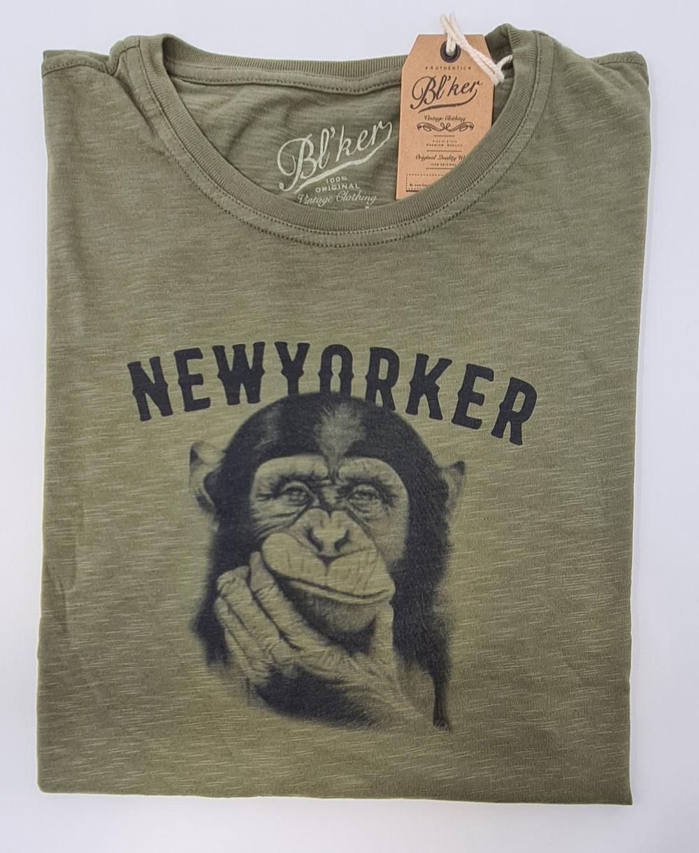 New Yorker Monkey T-Shirt Manica Corta Uomo Military Green