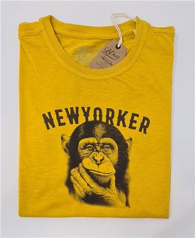 Herren Kurzarm T-Shirt New Yorker Monkey Yellow