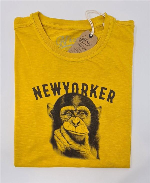 New Yorker Monkey Camiseta Manga Corta para Hombre Yellow