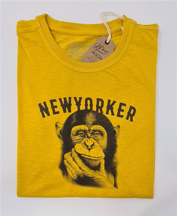 New Yorker Monkey T-Shirt à Manches Courtes Homme Yellow