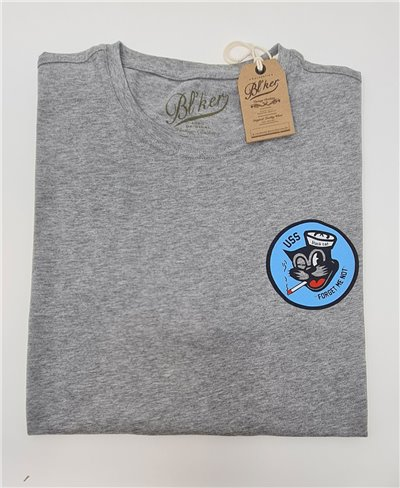 U.S.S. Black Cat T-Shirt Manica Corta Uomo Heather Grey