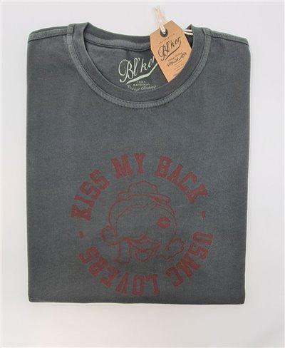 Men's Short Sleeve T-Shirt Kiss My Back Faded Black