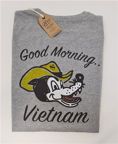 Herren Kurzarm T-Shirt Good Morning Vietnam Heather Grey