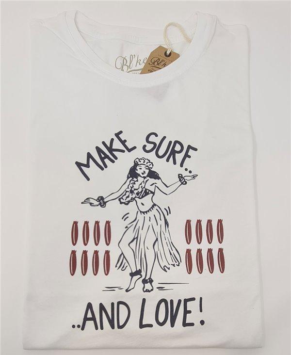 Herren Kurzarm T-Shirt Make Surf White