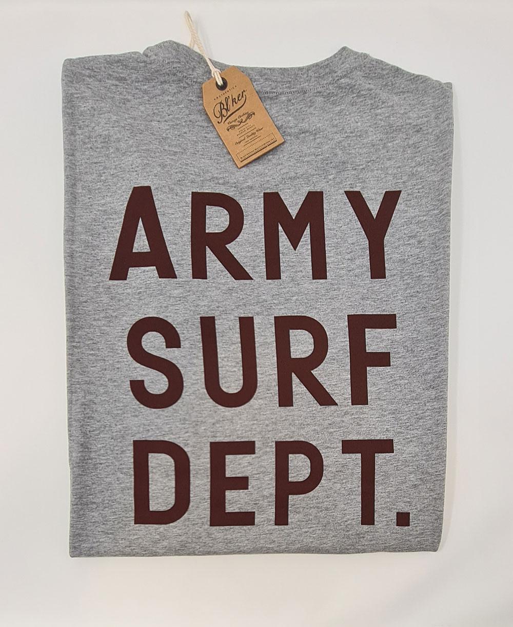 Herren Kurzarm T-Shirt Army Surf Dept Heather Grey