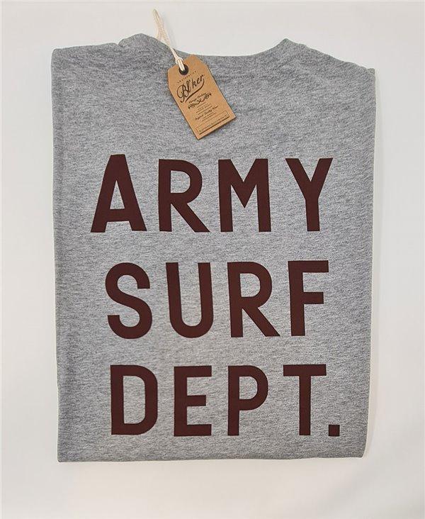 Army Surf Dept Camiseta Manga Corta para Hombre Heather Grey