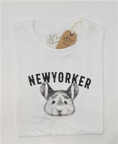 New Yorker Smurf T-Shirt à Manches Courtes Homme White