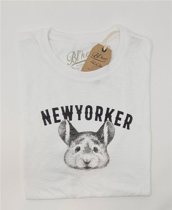Men's Short Sleeve T-Shirt New Yorker Smurf White
