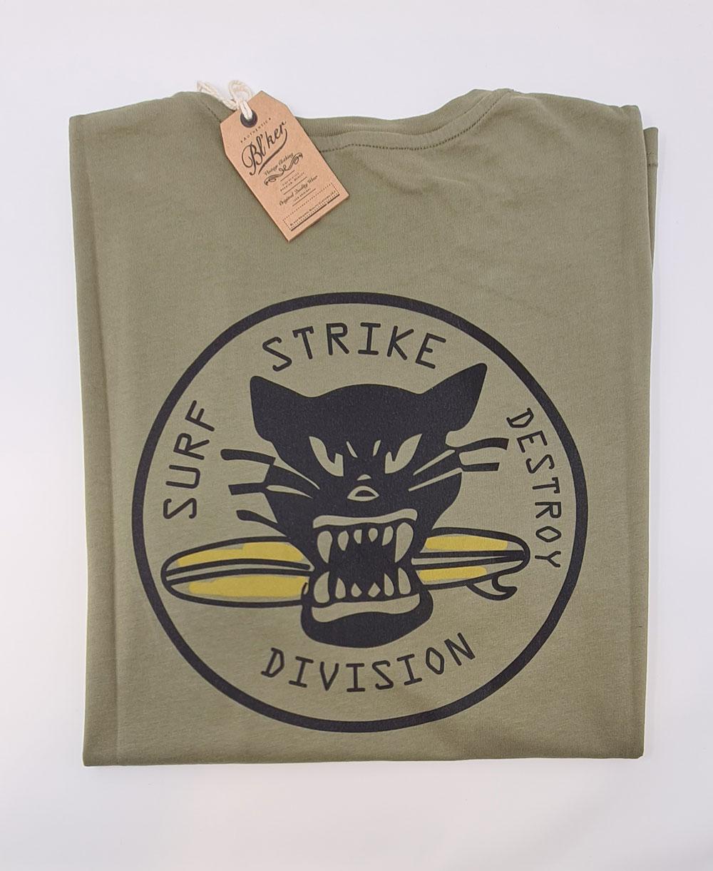 Men's Short Sleeve T-Shirt Surf on Wheel Military Green