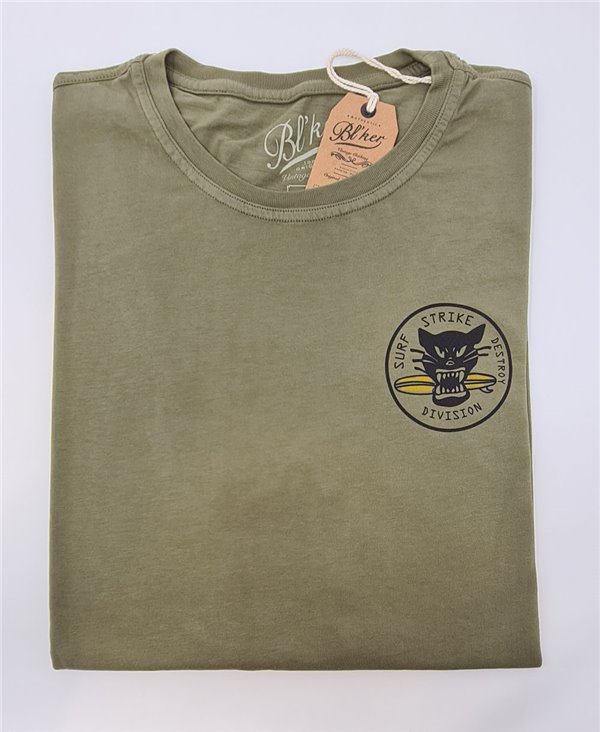 Herren Kurzarm T-Shirt Surf on Wheel Military Green