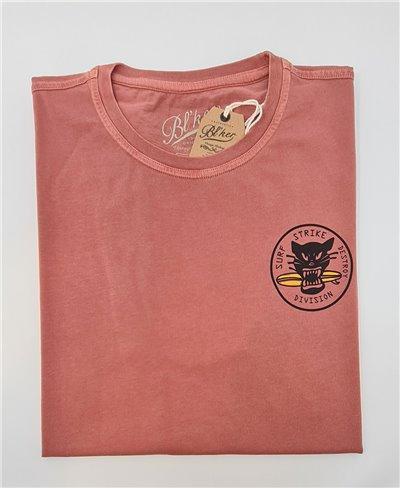 Herren Kurzarm T-Shirt Surf on Wheel Red