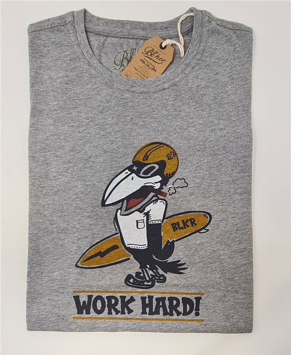 Work Hard Camiseta Manga Corta para Hombre Heather Grey