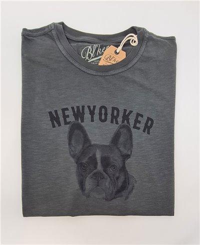 NY Bulldog Camiseta Manga Corta para Hombre Faded Black