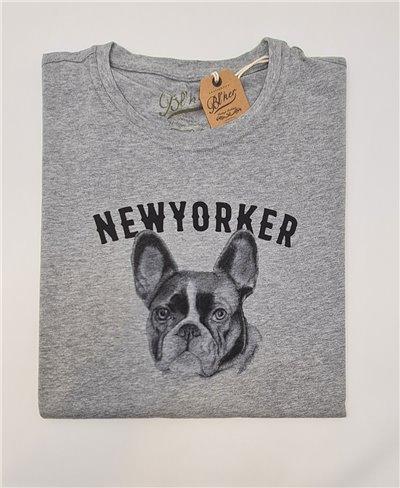 NY Bulldog Camiseta Manga Corta para Hombre Heather Grey