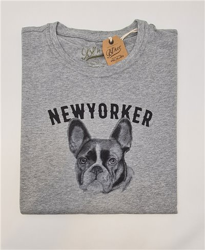 NY Bulldog T-Shirt Manica Corta Uomo Heather Grey