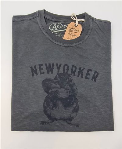 Men's Short Sleeve T-Shirt New Yorker Chesnut Faded Black