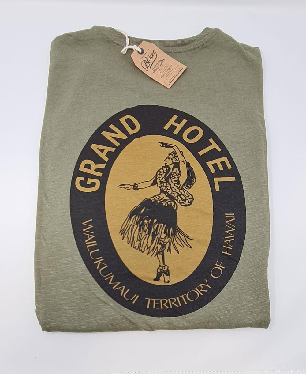 Herren Kurzarm T-Shirt Grand Hotel Hawaii Military Green