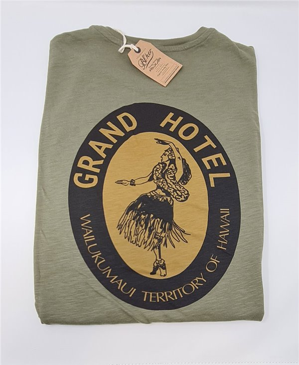 Men's Short Sleeve T-Shirt Grand Hotel Hawaii Military Green