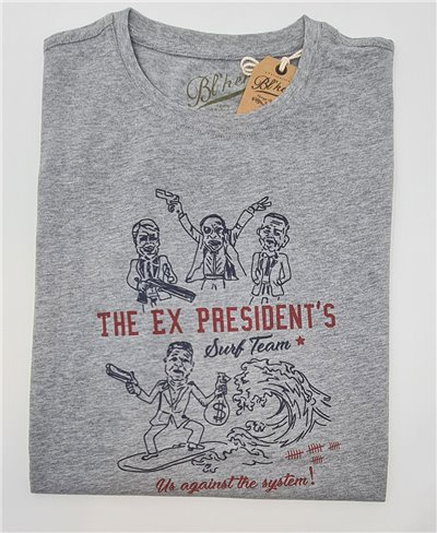 Herren Kurzarm T-Shirt Ex President Heather Grey