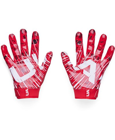 UA Blur Guanti Football Americano Uomo Red/Metallic Silver