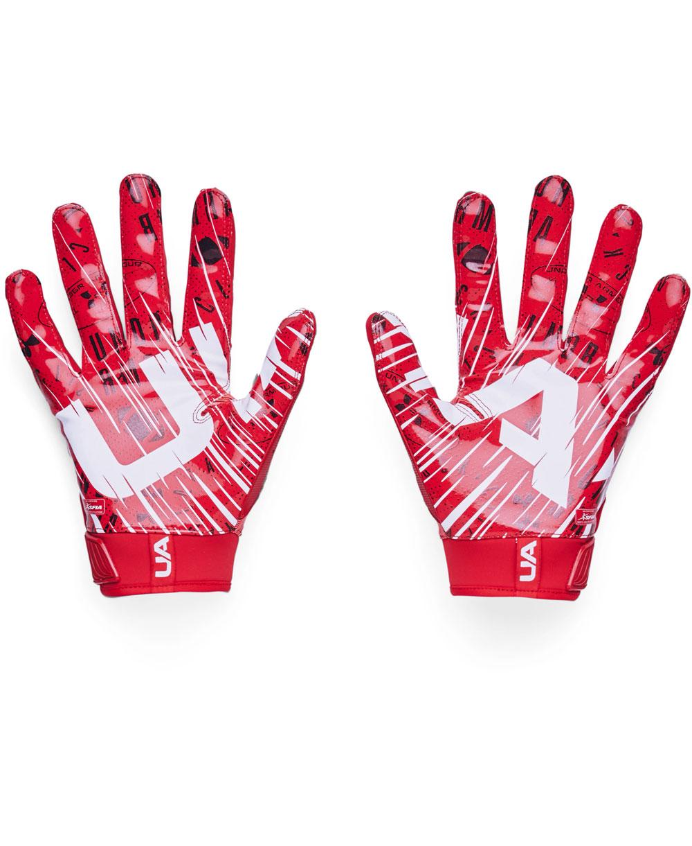 UA Blur Herren American Football Handschuhe Red/Metallic Silver