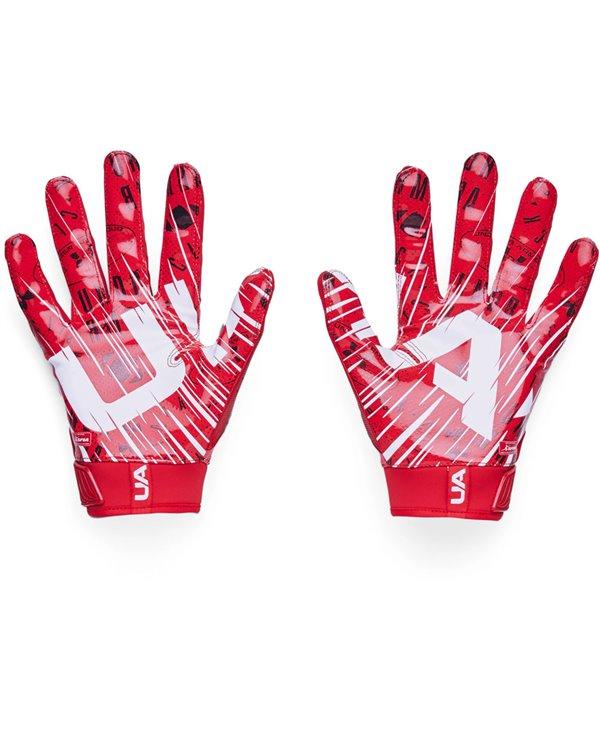 UA Blur Men's Football Gloves Red/Metallic Silver